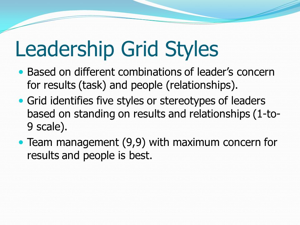 Leadership Grid Styles Based on different combinations of leader's concern for results (task) and people (relationships).