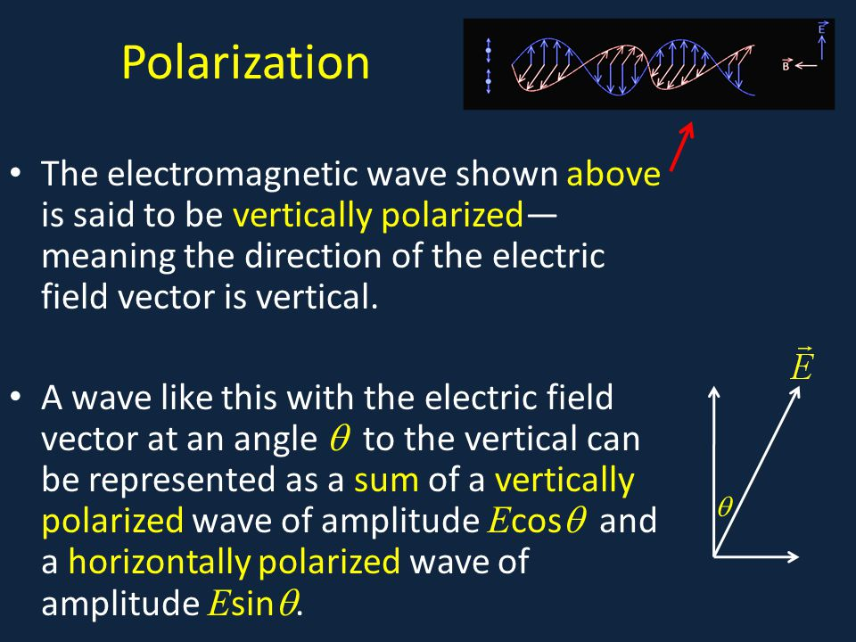 Polarization The electromagnetic wave shown above is said to be vertically polarized— meaning the direction of the electric field vector is vertical.