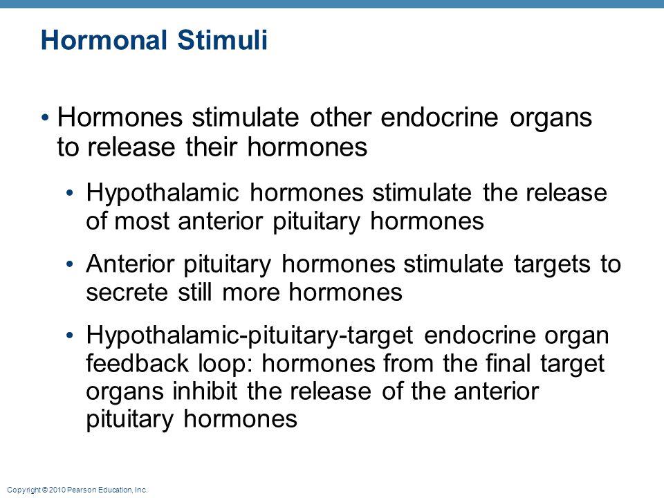 Copyright © 2010 Pearson Education, Inc. Hormonal Stimuli Hormones stimulate other endocrine organs to release their hormones Hypothalamic hormones st