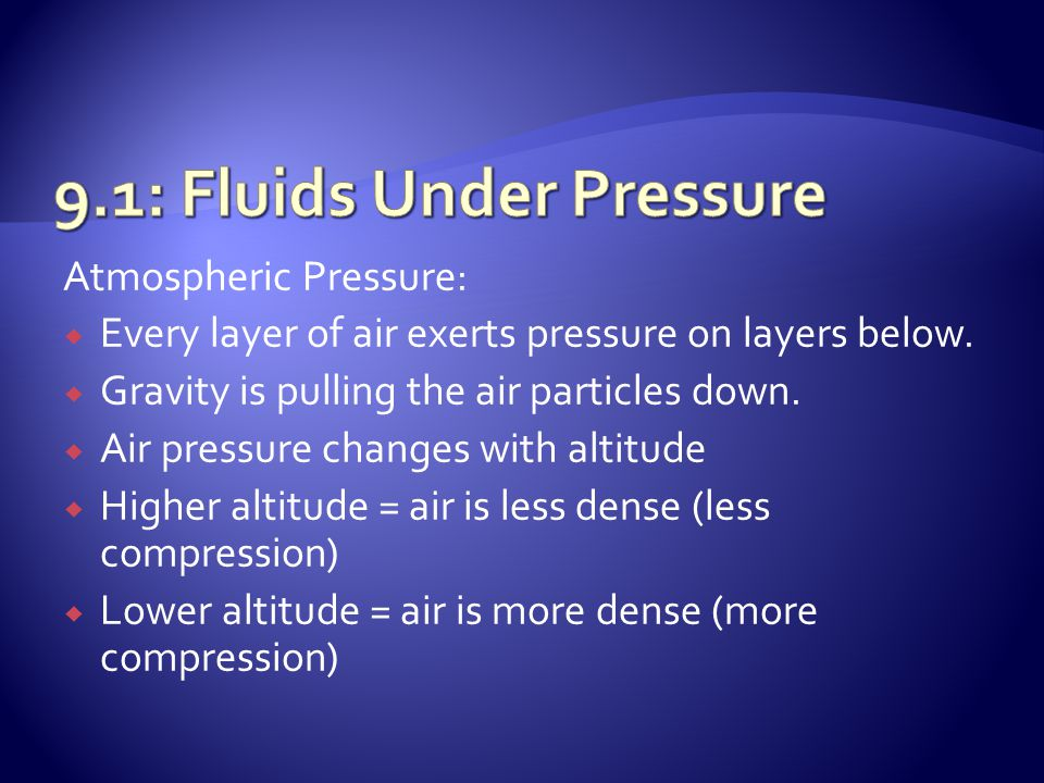 Atmospheric Pressure:  Every layer of air exerts pressure on layers below.  Gravity is pulling the air particles down.  Air pressure changes with a