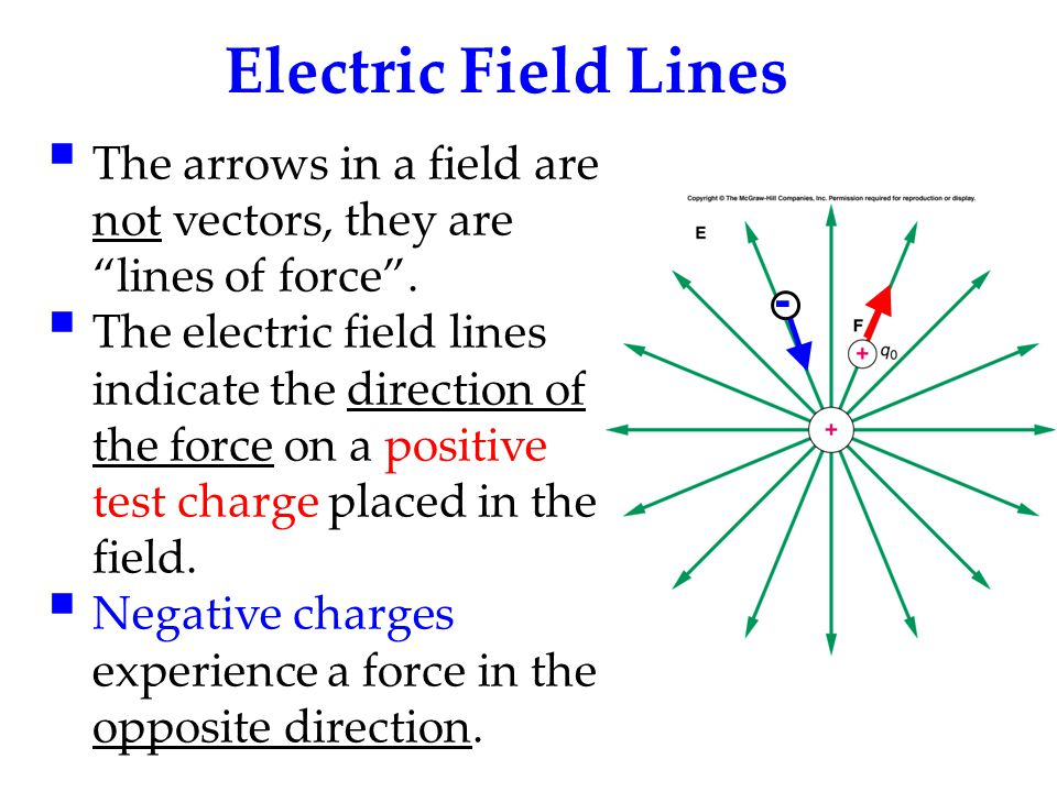 """Electric Field Lines  The arrows in a field are not vectors, they are """"lines of force"""".  The electric field lines indicate the direction of the forc"""