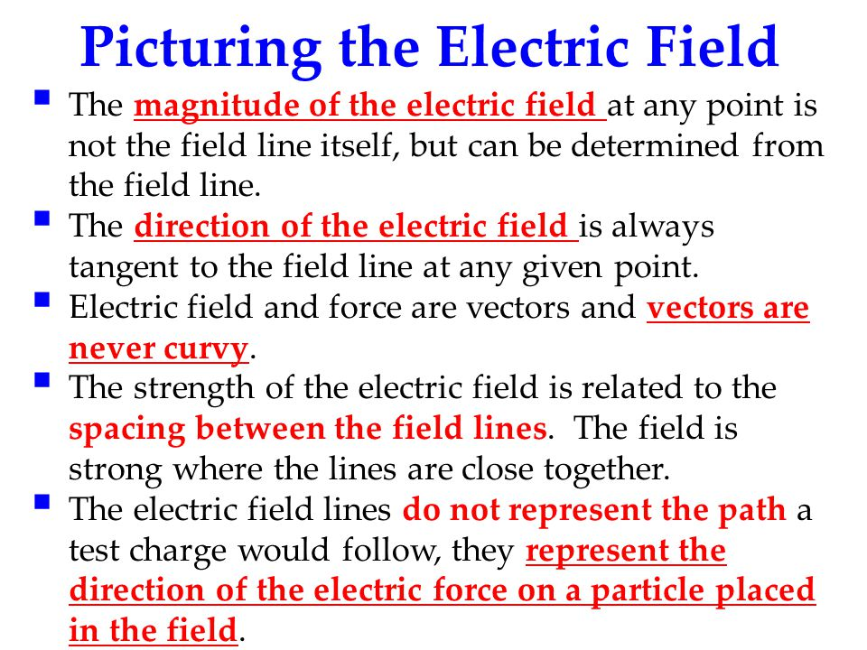 Picturing the Electric Field  The magnitude of the electric field at any point is not the field line itself, but can be determined from the field lin