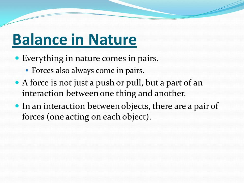 Balance in Nature Everything in nature comes in pairs.
