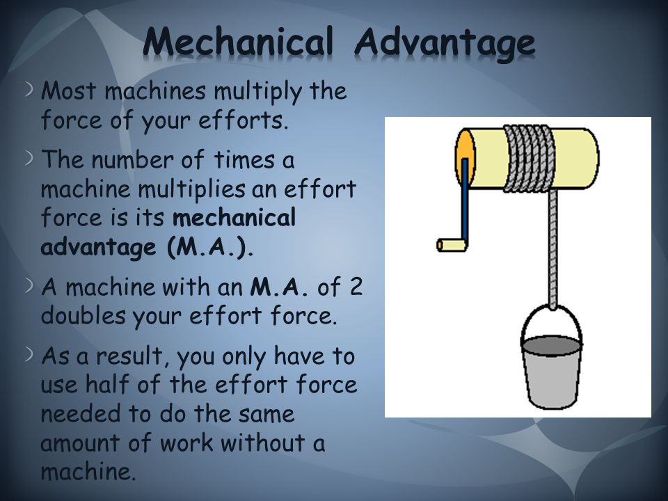 Most machines multiply the force of your efforts.