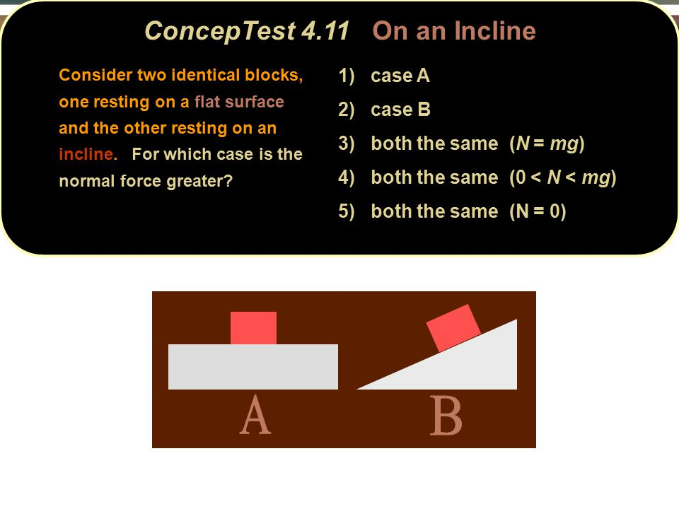ConcepTest 4.11On an Incline ConcepTest 4.11 On an Incline 1) case A 2) case B 3) both the same (N = mg) 4) both the same (0 < N < mg) 5) both the same (N = 0) Consider two identical blocks, one resting on a flat surface and the other resting on an incline.
