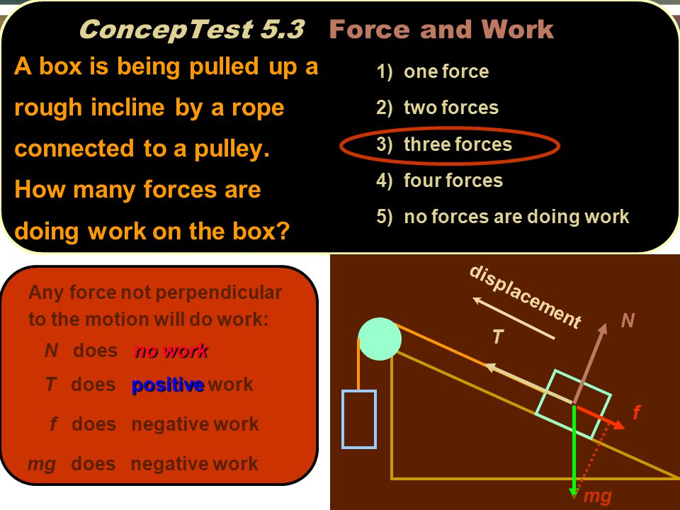 ConcepTest 5.3 Force and Work N f T mg displacement Any force not perpendicular to the motion will do work: no work N does no work positive T does positive work f does negative work mg does negative work 1) one force 2) two forces 3) three forces 4) four forces 5) no forces are doing work A box is being pulled up a rough incline by a rope connected to a pulley.