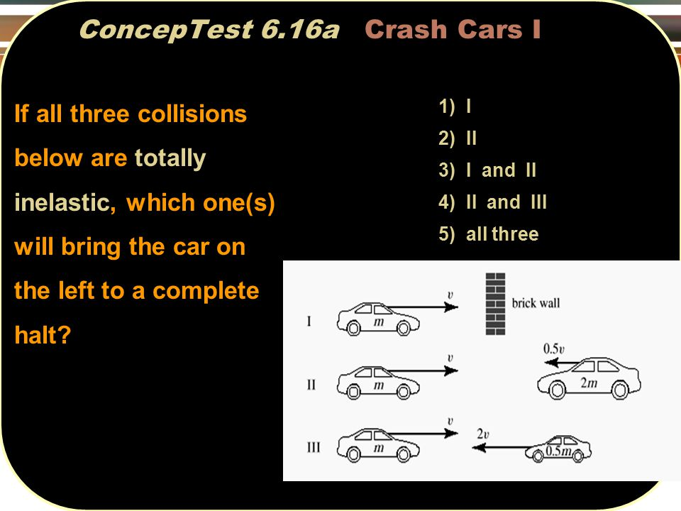 ConcepTest 6.16a Crash Cars I 1) I 2) II 3) I and II 4) II and III 5) all three If all three collisions below are totally inelastic, which one(s) will bring the car on the left to a complete halt