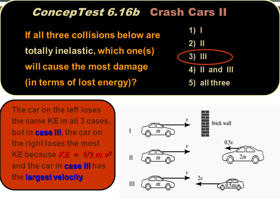 ConcepTest 6.16b Crash Cars II case III KE = 1/2 m v 2 case III largest velocity The car on the left loses the same KE in all 3 cases, but in case III, the car on the right loses the most KE because KE = 1/2 m v 2 and the car in case III has the largest velocity.