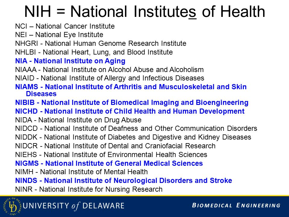 B IOMEDICAL E NGINEERING NIH = National Institutes of Health NCI – National Cancer Institute NEI – National Eye Institute NHGRI - National Human Genome Research Institute NHLBI - National Heart, Lung, and Blood Institute NIA - National Institute on Aging NIAAA - National Institute on Alcohol Abuse and Alcoholism NIAID - National Institute of Allergy and Infectious Diseases NIAMS - National Institute of Arthritis and Musculoskeletal and Skin Diseases NIBIB - National Institute of Biomedical Imaging and Bioengineering NICHD - National Institute of Child Health and Human Development NIDA - National Institute on Drug Abuse NIDCD - National Institute of Deafness and Other Communication Disorders NIDDK - National Institute of Diabetes and Digestive and Kidney Diseases NIDCR - National Institute of Dental and Craniofacial Research NIEHS - National Institute of Environmental Health Sciences NIGMS - National Institute of General Medical Sciences NIMH - National Institute of Mental Health NINDS - National Institute of Neurological Disorders and Stroke NINR - National Institute for Nursing Research