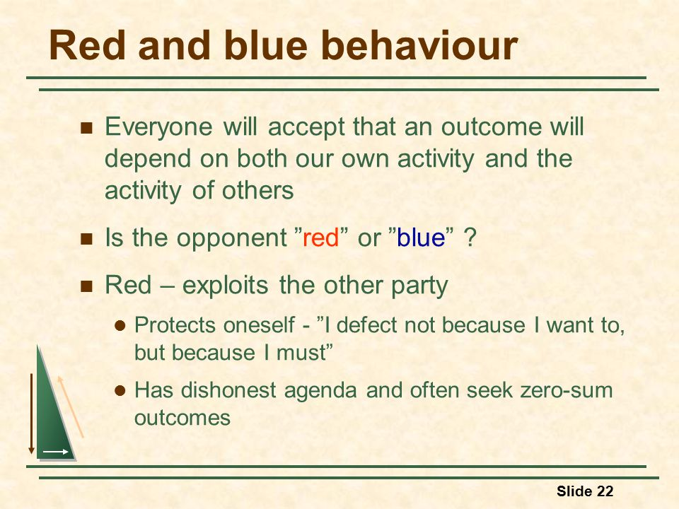Slide 22 Red and blue behaviour Everyone will accept that an outcome will depend on both our own activity and the activity of others Is the opponent red or blue .