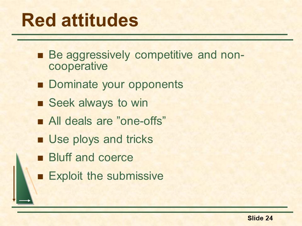 Slide 24 Red attitudes Be aggressively competitive and non- cooperative Dominate your opponents Seek always to win All deals are one-offs Use ploys and tricks Bluff and coerce Exploit the submissive