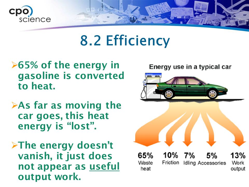 """8.2 Efficiency  65% of the energy in gasoline is converted to heat.  As far as moving the car goes, this heat energy is """"lost"""".  The energy doesn't"""