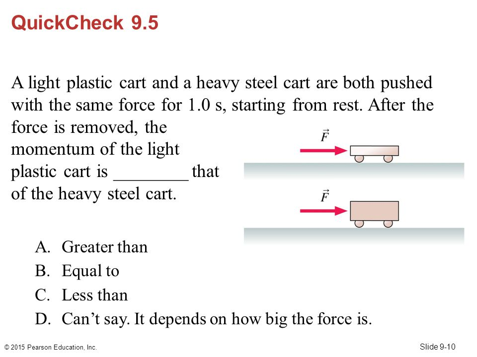Slide 9-10 QuickCheck 9.5 A light plastic cart and a heavy steel cart are both pushed with the same force for 1.0 s, starting from rest. After the for