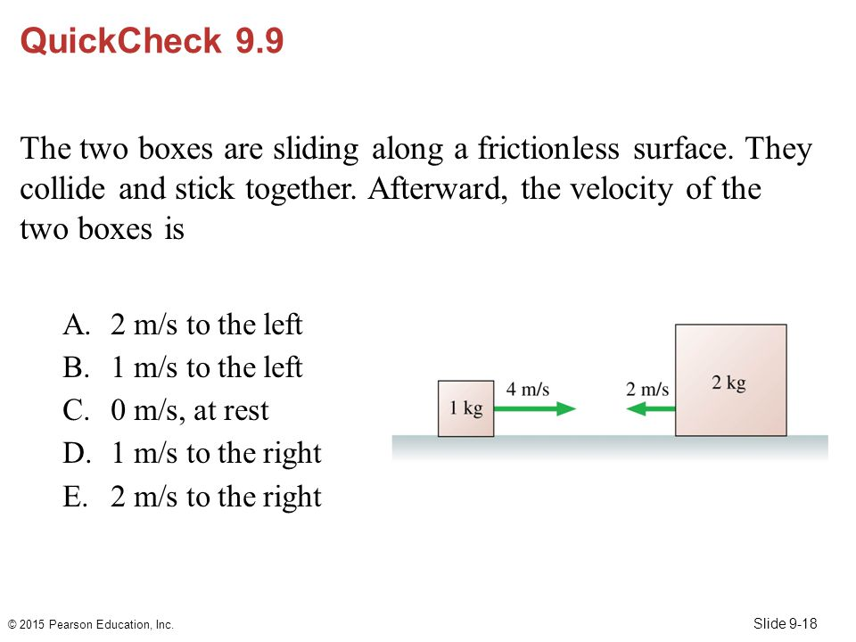 Slide 9-18 QuickCheck 9.9 The two boxes are sliding along a frictionless surface. They collide and stick together. Afterward, the velocity of the two