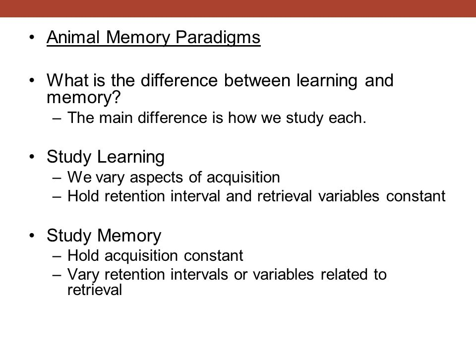Compare the human situation to that of the pigeon –Maintaining a bunch of words in memory is demanding Difficult to do –The pigeons do not have nearly the same demands one sample to remember –Red or Green –There may be little cost to remembering regardless of the trial type.
