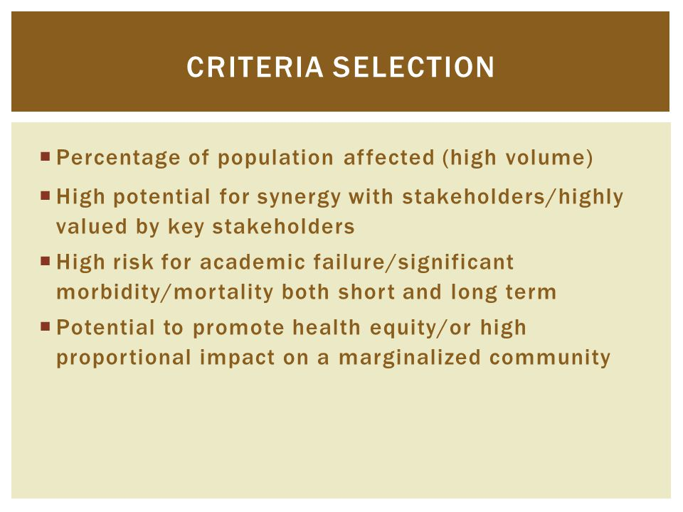  Percentage of population affected (high volume)  High potential for synergy with stakeholders/highly valued by key stakeholders  High risk for aca
