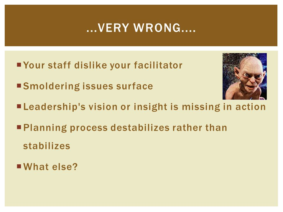  Your staff dislike your facilitator  Smoldering issues surface  Leadership's vision or insight is missing in action  Planning process destabilize