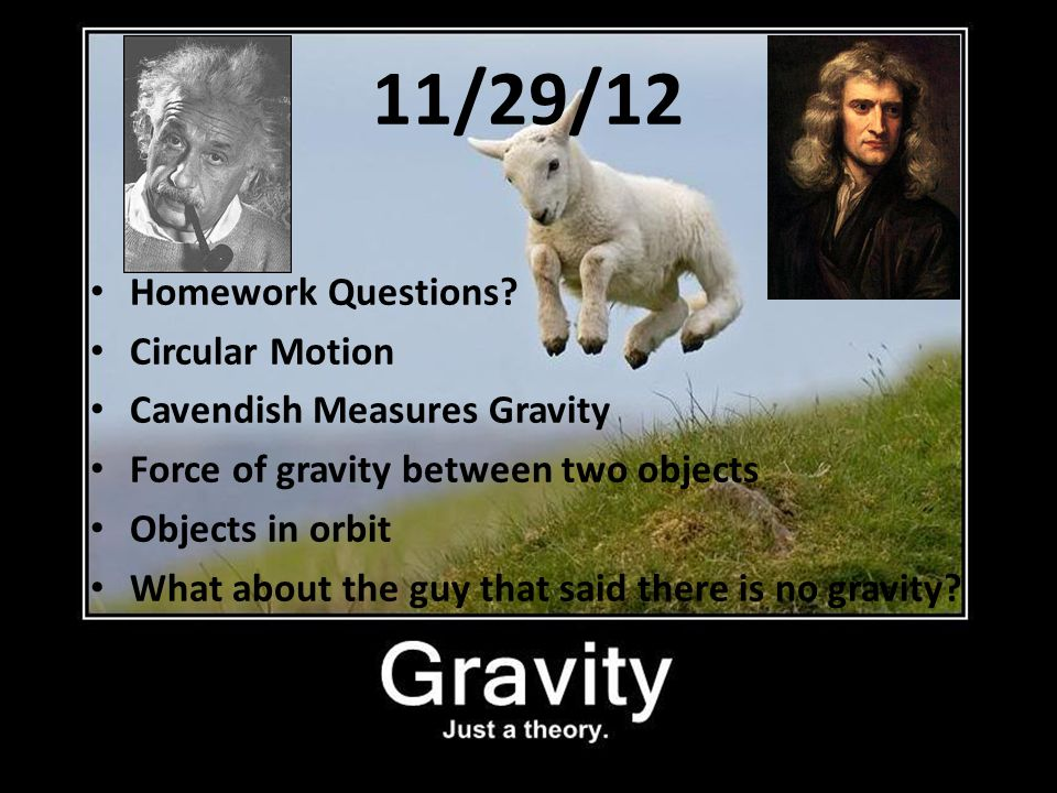 11/29/12 Homework Questions? Circular Motion Cavendish Measures Gravity Force of gravity between two objects Objects in orbit What about the guy that