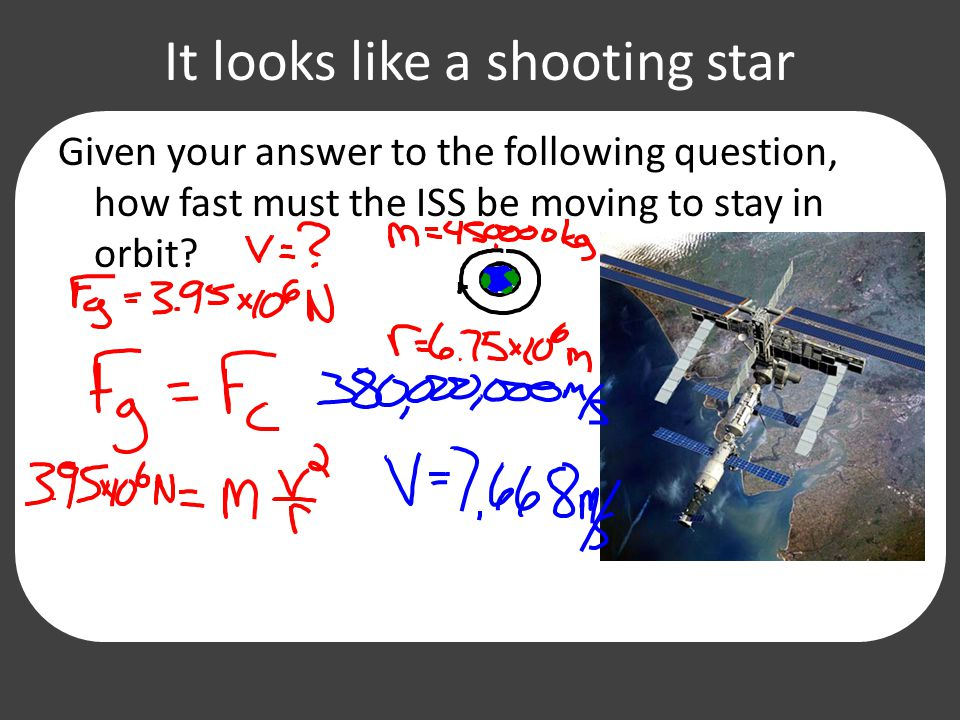 It looks like a shooting star Given your answer to the following question, how fast must the ISS be moving to stay in orbit?