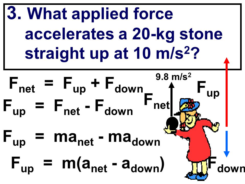 3. What applied force accelerates a 20-kg stone straight up at 10 m/s 2 ? 9.8 m/s 2 F net = F up + F down F up = F net - F down F up F down F up = ma