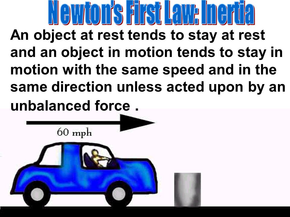 An object at rest tends to stay at rest and an object in motion tends to stay in motion with the same speed and in the same direction unless acted upo