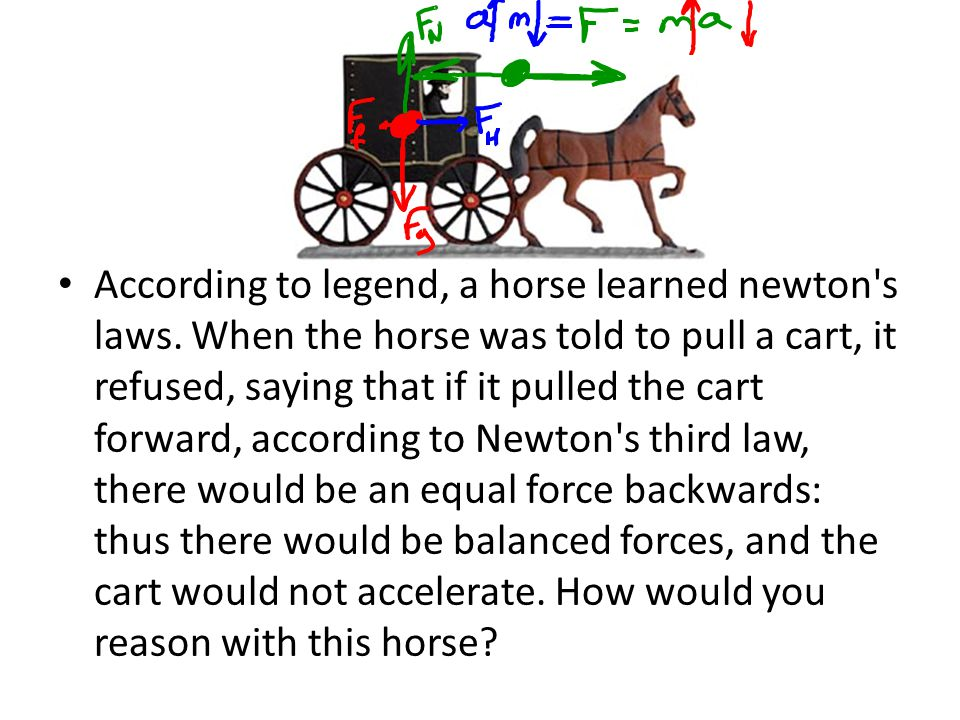 According to legend, a horse learned newton's laws. When the horse was told to pull a cart, it refused, saying that if it pulled the cart forward, acc