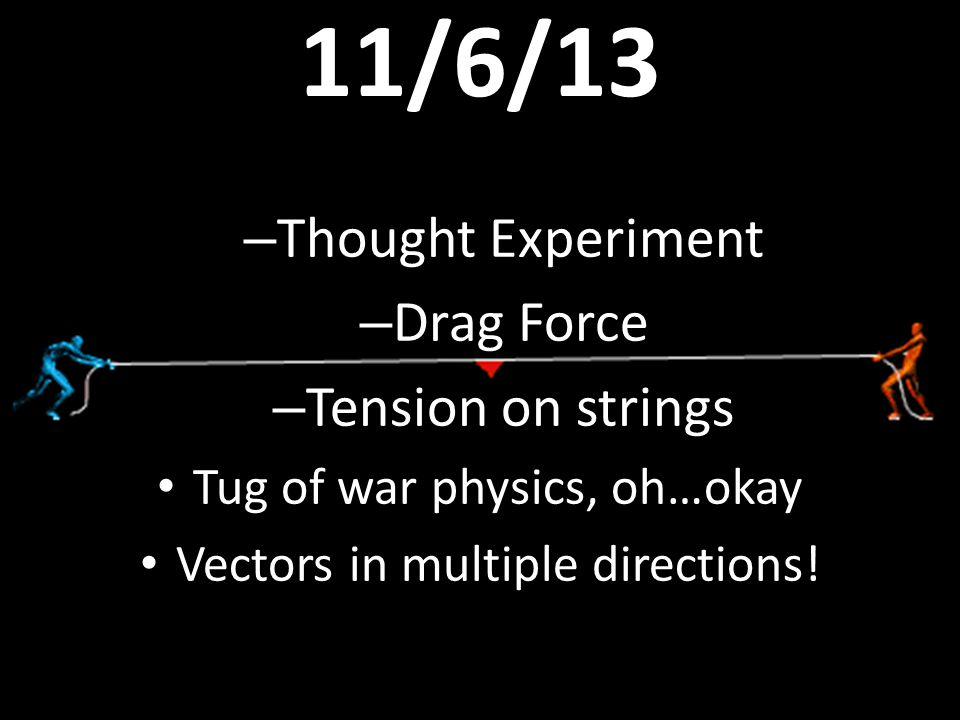 11/6/13 – Thought Experiment – Drag Force – Tension on strings Tug of war physics, oh…okay Vectors in multiple directions!
