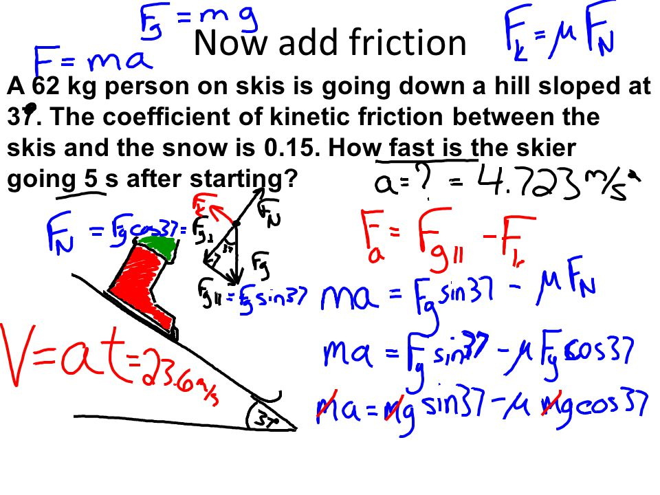 Now add friction A 62 kg person on skis is going down a hill sloped at 37. The coefficient of kinetic friction between the skis and the snow is 0.15.