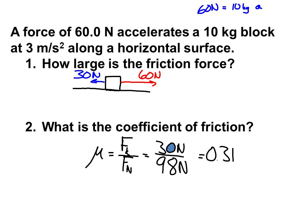 A force of 60.0 N accelerates a 10 kg block at 3 m/s 2 along a horizontal surface. 1.How large is the friction force? 2.What is the coefficient of fri