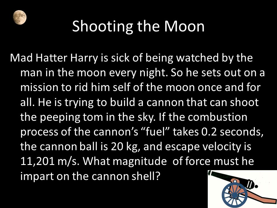 Shooting the Moon Mad Hatter Harry is sick of being watched by the man in the moon every night. So he sets out on a mission to rid him self of the moo