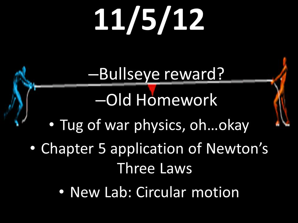 11/5/12 – Bullseye reward? – Old Homework Tug of war physics, oh…okay Chapter 5 application of Newton's Three Laws New Lab: Circular motion