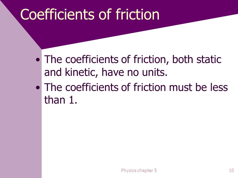 Static friction When Then the force applied to the object from an external force is equal to the static frictional force and the object is just about to start sliding.