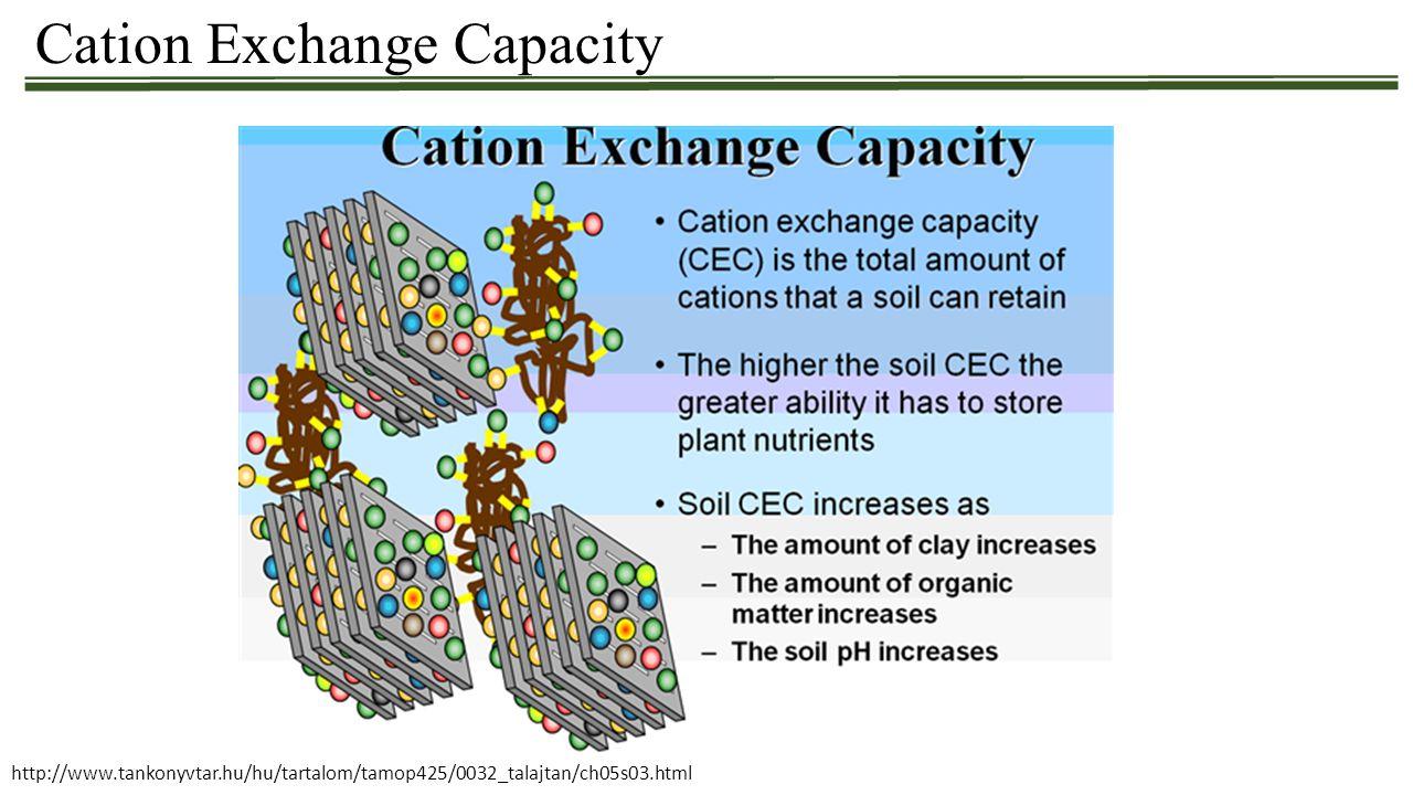 Cation Exchange Capacity http://www.tankonyvtar.hu/hu/tartalom/tamop425/0032_talajtan/ch05s03.html