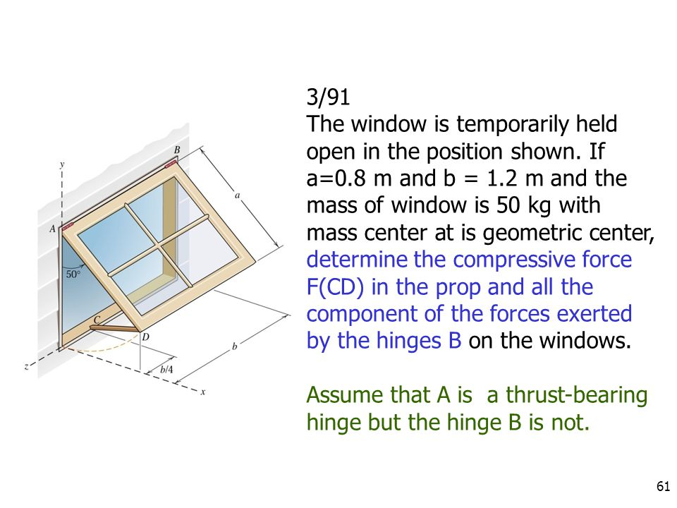61 3/91 The window is temporarily held open in the position shown. If a=0.8 m and b = 1.2 m and the mass of window is 50 kg with mass center at is geo