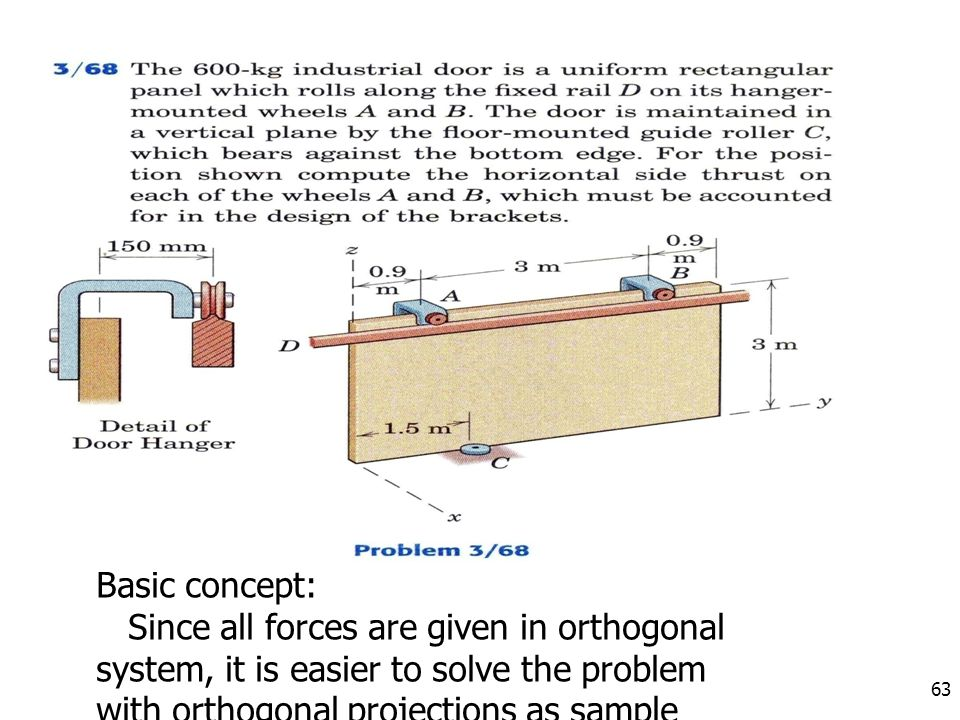 63 Basic concept: Since all forces are given in orthogonal system, it is easier to solve the problem with orthogonal projections as sample problem 3/6