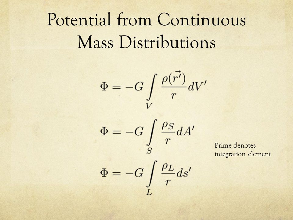 Potential from Continuous Mass Distributions Prime denotes integration element