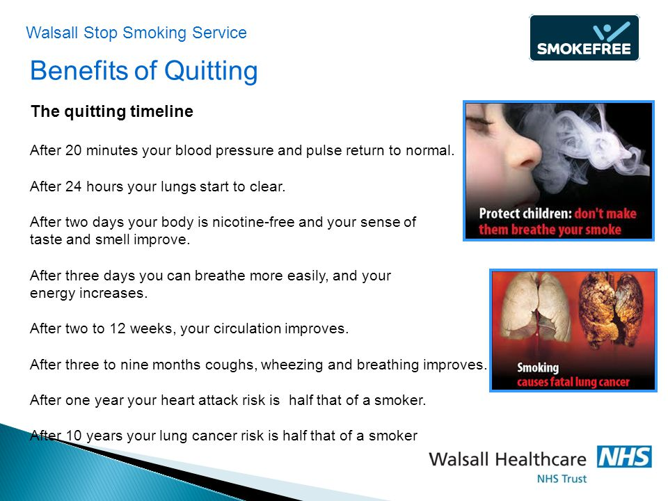 Benefits of Quitting The quitting timeline After 20 minutes your blood pressure and pulse return to normal.