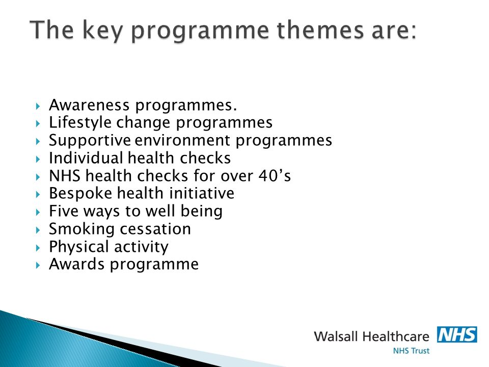 The key programme themes are:  Awareness programmes.