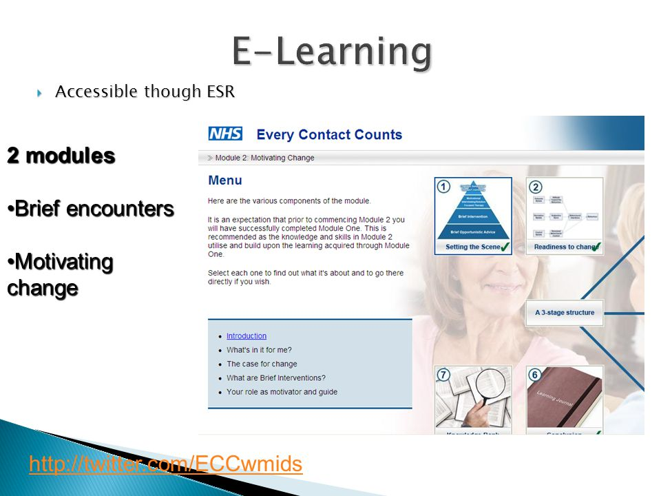 E-Learning  Accessible though ESR http://twitter.com/ECCwmids 2 modules Brief encountersBrief encounters Motivating changeMotivating change