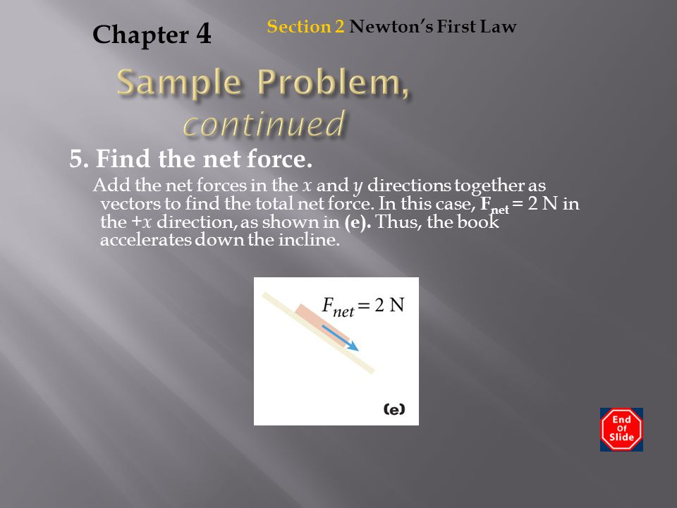 Chapter 4 5. Find the net force. Add the net forces in the x and y directions together as vectors to find the total net force. In this case, F net = 2