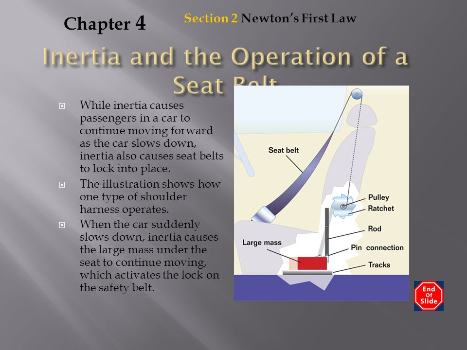 Chapter 4  While inertia causes passengers in a car to continue moving forward as the car slows down, inertia also causes seat belts to lock into pla