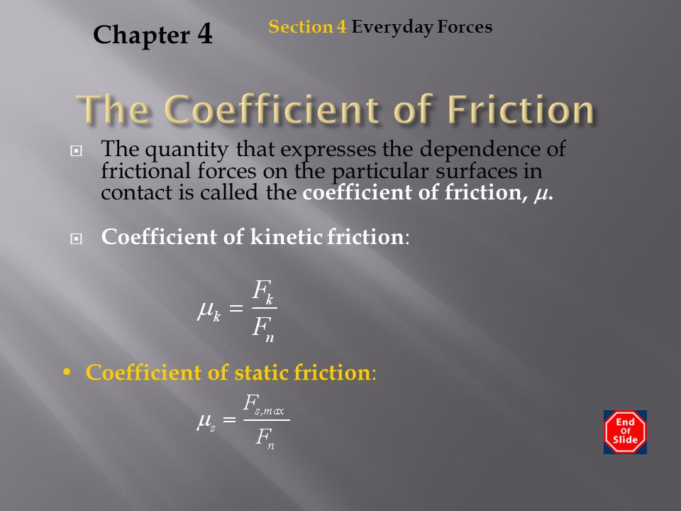 Chapter 4  The quantity that expresses the dependence of frictional forces on the particular surfaces in contact is called the coefficient of frictio