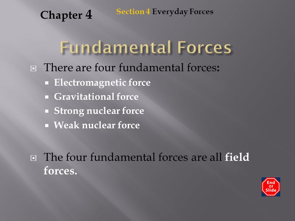 Chapter 4  There are four fundamental forces :  Electromagnetic force  Gravitational force  Strong nuclear force  Weak nuclear force  The four f