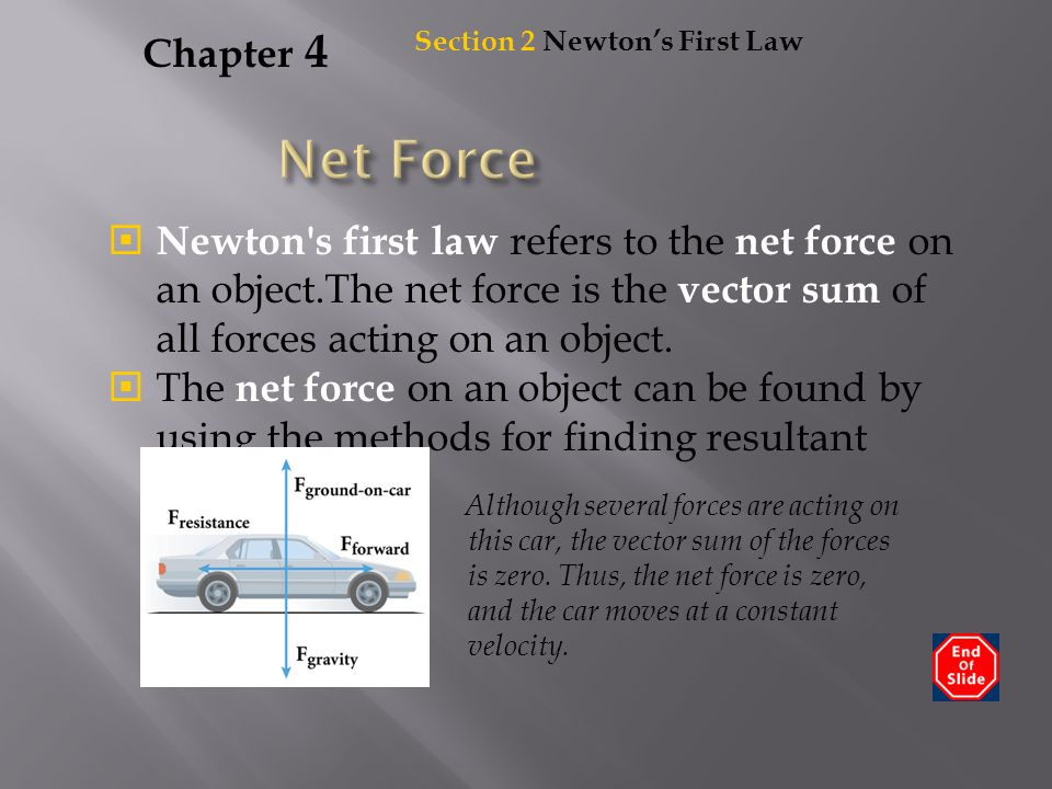 Chapter 4  Newton's first law refers to the net force on an object.The net force is the vector sum of all forces acting on an object.  The net force
