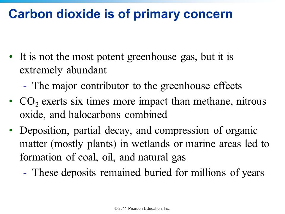 © 2011 Pearson Education, Inc. Carbon dioxide is of primary concern It is not the most potent greenhouse gas, but it is extremely abundant -The major