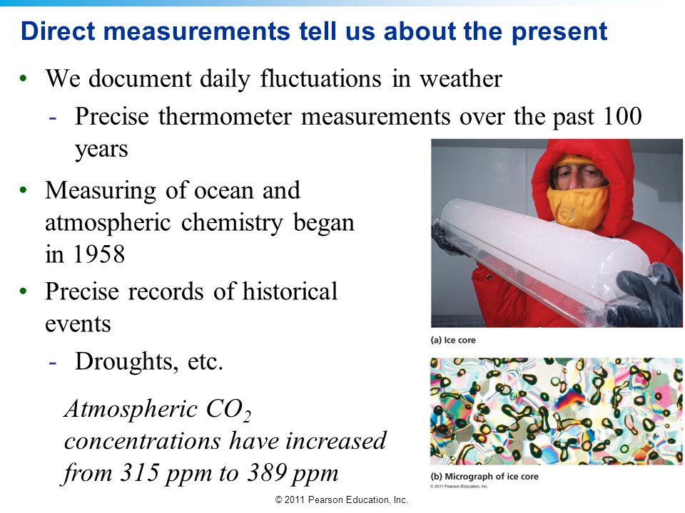 © 2011 Pearson Education, Inc. Direct measurements tell us about the present We document daily fluctuations in weather -Precise thermometer measuremen