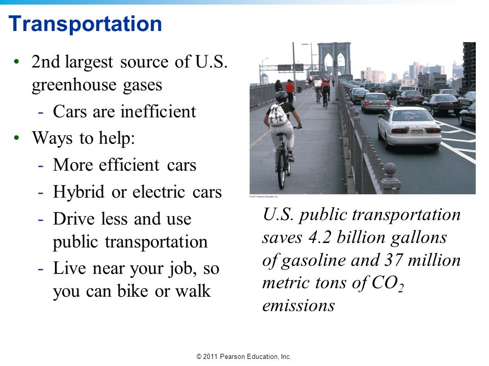 © 2011 Pearson Education, Inc. Transportation 2nd largest source of U.S. greenhouse gases -Cars are inefficient Ways to help: -More efficient cars -Hy