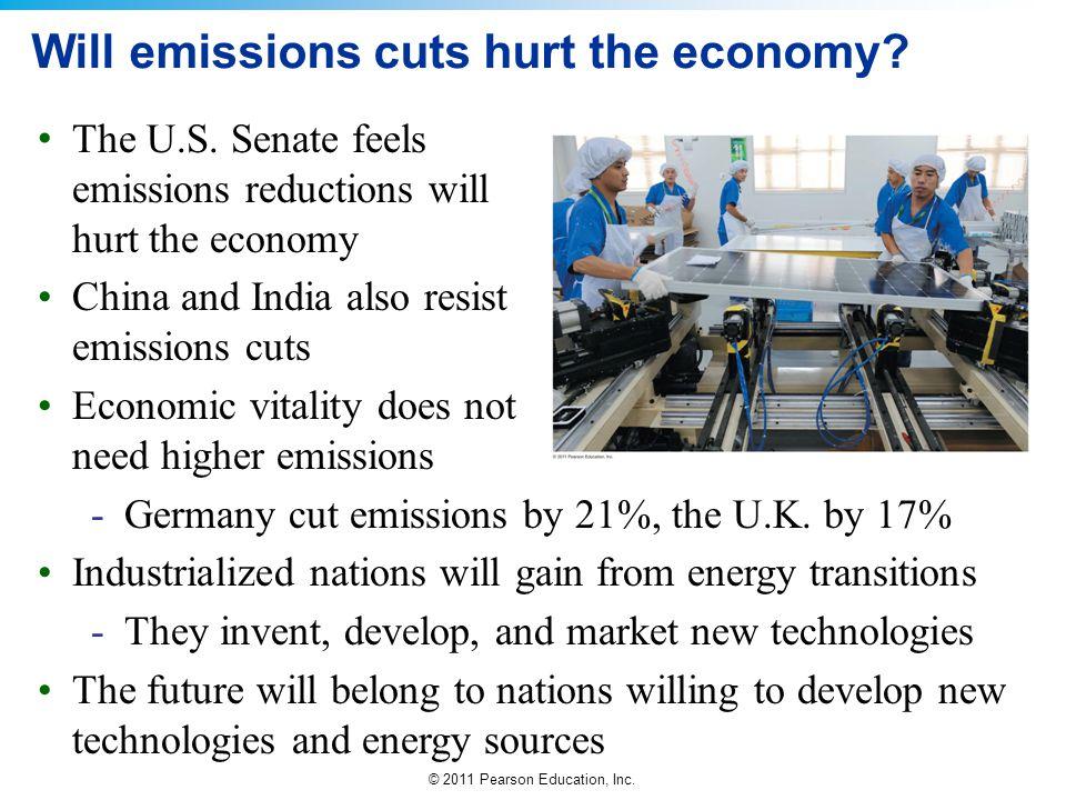 © 2011 Pearson Education, Inc. Will emissions cuts hurt the economy? The U.S. Senate feels emissions reductions will hurt the economy China and India