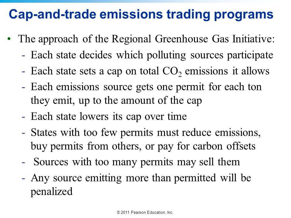 © 2011 Pearson Education, Inc. Cap-and-trade emissions trading programs The approach of the Regional Greenhouse Gas Initiative: -Each state decides wh