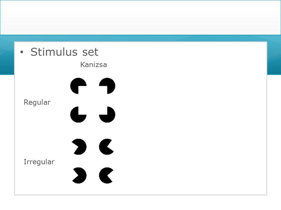 Stimulus set Regular Irregular Kanizsa Regular Irregular KanizsaSurface Cross